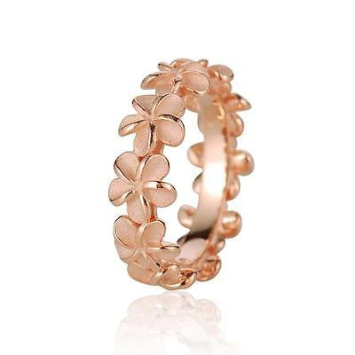 ROSE GOLD PLATED SILVER 925 HAWAIIAN 5MM PLUMERIA FLOWER LEI RING SIZE 3 - 10 (PR-10)