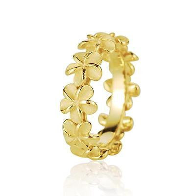 YELLOW GOLD PLATED SILVER 925 HAWAIIAN 5MM PLUMERIA FLOWER LEI RING SIZE 3 - 10 (PR-11)