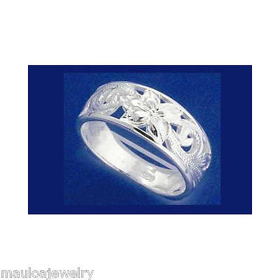 STERLING SILVER 925 HAWAIIAN PLUMERIIA FLOWER SCROLL CUT OUT RING SIZE 2 - 14 (PR-14)