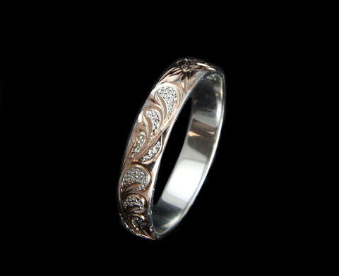 4MM ROSE GOLD PLATED SILVER 925 HAWAIIAN PLUMERIA SCROLL BAND RING SIZE 1 TO 12 (PR-1)