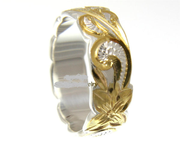 6MM SILVER 925 HAWAIIAN RING QUEEN SCROLL YELLOW GOLD PLATED 2 TONE (PR-25)