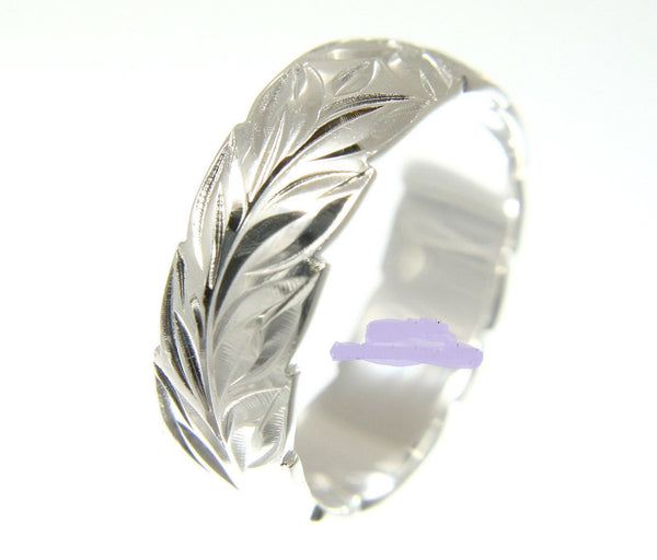 6MM STERLING SILVER 925 HAWAIIAN BAND RING PLUMERIA FLOWER MAILE LEAF CUT OUT (PR-26)