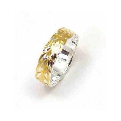 6MM SILVER 925 HAWAIIAN RING YELLOW GOLD PLATED MAILE LEAF 2 TONE (PR-28)