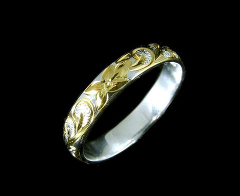 4MM YELLOW GOLD PLATED SILVER 925 HAWAIIAN PLUMERIA SCROLL BAND RING SIZE 1 - 12 (PR-2)