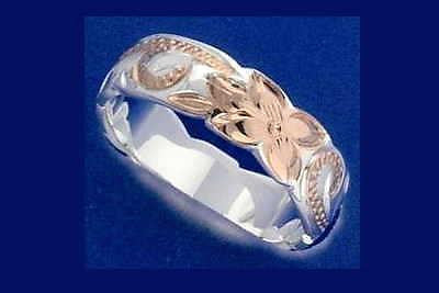 8MM SILVER 925 HAWAIIAN PRINCESS SCROLL RING ROSE GOLD PLATED 2 TONE (PR-38)