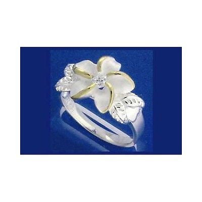STERLING SILVER 925 HAWAIIAN 12MM PLUMERIA FLOWER MAILE LEAF CZ RING YG 2 TONE (PR-40)