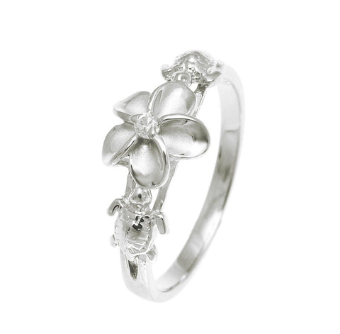 STERLING SILVER 925 HAWAIIAN PLUMERIA FLOWER 2 TURTLE RING RHODIUM (PR-42)