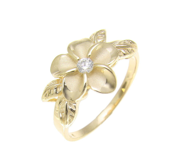 YELLOW GOLD PLATED SILVER 925 HAWAIIAN PLUMERIA FLOWER MAILE LEAF LEAVES RING CZ (PR-46)