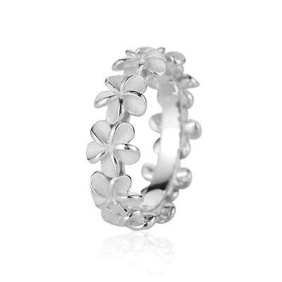 STERLING SILVER 925 HAWAIIAN 5MM PLUMERIA FLOWER LEI RING SIZE 2 - 11 (PR-4)
