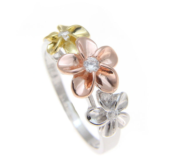 STERLING SILVER 925 TRICOLOR HAWAIIAN 8-10-8MM PLUMERIA FLOWER RING (PR-52)