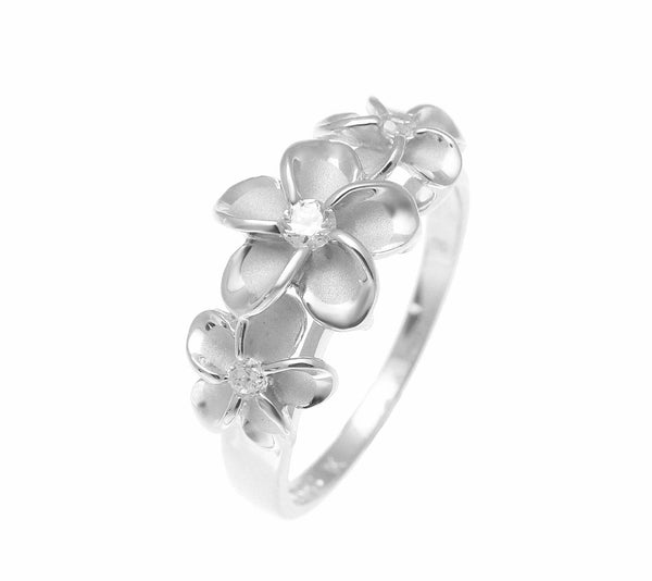 STERLING SILVER 925 HAWAIIAN FANCY 3 PLUMERIA FLOWER RING CZ RHODIUM (PR-57)