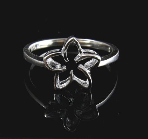 SILVER 925 HIGH POLISH SHINY HAWAIIAN PLUMERIA FLOWER OUTLINE RING 11MM SZ 3-10 (PR-5)
