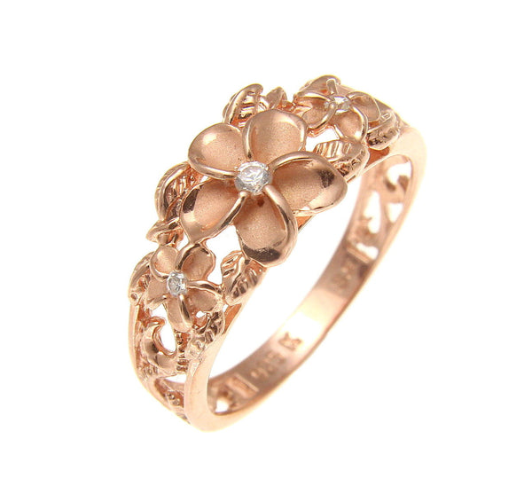 ROSE GOLD PLATED SILVER 925 HAWAIIAN 3 PLUMERIA FLOWER RING MAILE CUT OUT SCROLL (PR-62)