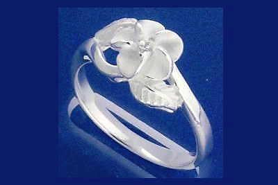 STERLING SILVER 925 HAWAIIAN PLUMERIA FLOWER MAILE LEAF RING SIZE 3 - 10 (PR-6)