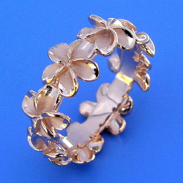 PINK ROSE SILVER 925 HAWAIIAN PLUMERIA FLOWER LEI BAND RING (PR-72)