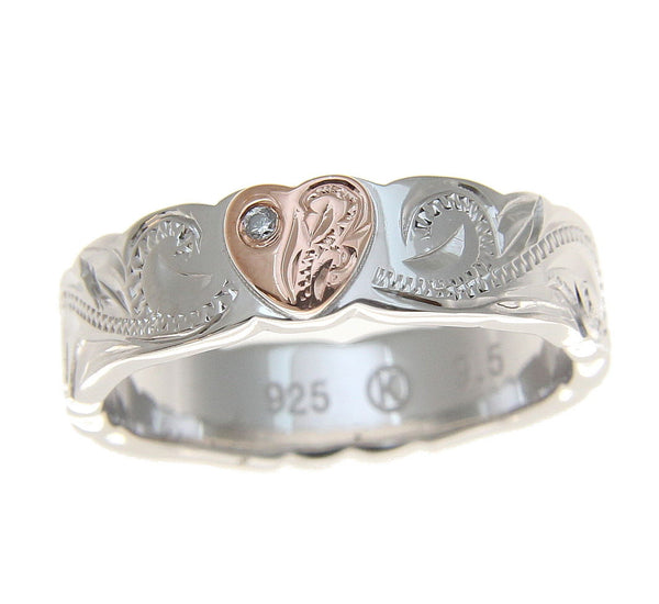 SILVER 925 HAWAIIAN SCROLL RING ROSE GOLD PLATED HEART CZ RHODIUM THICK HEAVY (PR-75)