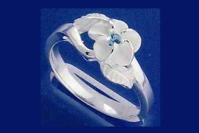 STERLING SILVER 925 HAWAIIAN PLUMERIA FLOWER MAILE LEAF BLUE CZ RING SIZE 3 - 9 (PR-8)