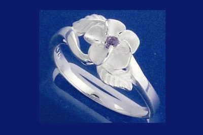 STERLING SILVER 925 HAWAIIAN PLUMERIA FLOWER MAILE LEAF PURPLE CZ RING SIZE 2-10 (PR-9)