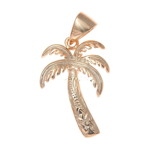 16MM PINK ROSE GOLD PLATED SILVER 925 HAWAIIAN PALM TREE SCROLL PENDANT CHARM (PTJ-10)