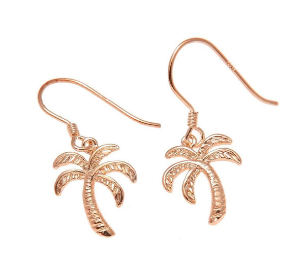 ROSE GOLD ON SILVER 925 HAWAIIAN PALM TREE WIRE HOOK LEVERBACK EARRINGS (PTJ-13)