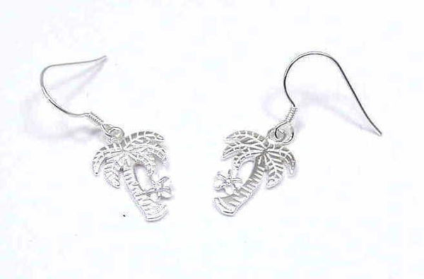 SILVER 925 HAWAIIAN PALM TREE PLUMERIA EARRINGS ON WIRE (PTJ-2)