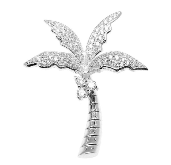 SOLID 925 STERLING SILVER HAWAIIAN 3D PALM TREE SLIDE PENDANT CZ RHODIUM (PTJ-38)