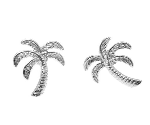 SOLID 925 STERLING SILVER RHODIUM HAWAIIAN PALM TREE STUD POST EARRINGS 11.30MM (PTJ-3)