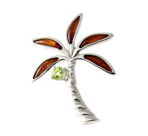 GENUINE PERIDOT INLAY HAWAIIAN KOA WOOD PALM TREE SLIDE PENDANT SILVER 925 20MM (PTJ-41)