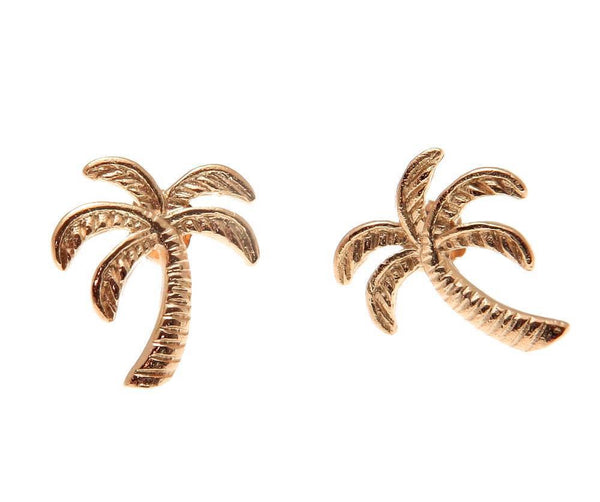 ROSE GOLD ON 925 STERLING SILVER HAWAIIAN PALM TREE STUD POST EARRINGS 11.30MM (PTJ-4)