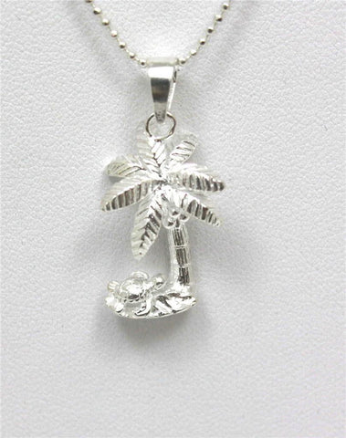 SILVER 925 HAWAIIAN 3D SEA TURTLE CRAWLING UNDER PALM TREE PENDANT (PTJ-5)