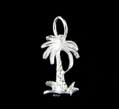 SOLID 925 STERLING SILVER HAWAIIAN 3D PALM TREE CHARM PENDANT SMALL 9.50 MM (PTJ-1)