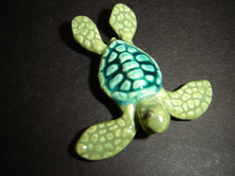 Raku Mini Green Sea Turtle 1.5 inch