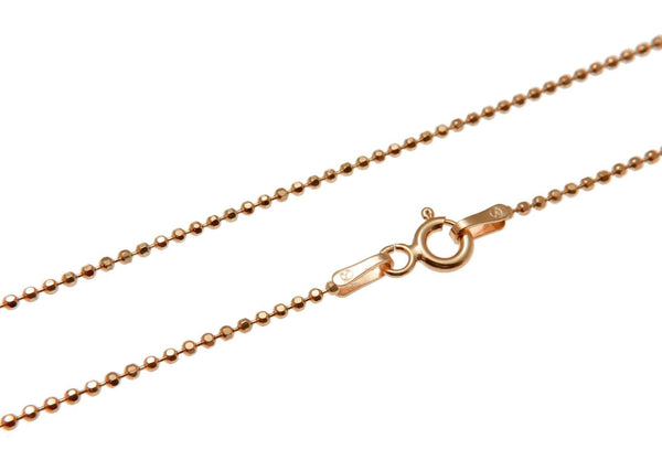 "1.2MM ROSE PINK GOLD ITALIAN SILVER 925 DIAMOND CUT BEAD BALL CHAIN NECKLACE 16"" (SC-12)"