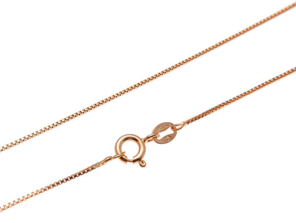 "1MM ITALIAN ROSE GOLD ON SILVER 925 BOX CHAIN NECKLACE 16"",18"",20"",22"",24"" (SC-17)"