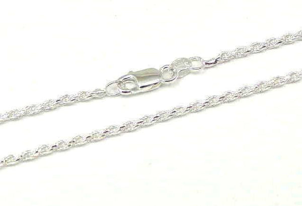 "ITALIAN SILVER 925 DIAMOND CUT ROPE CHAIN 2MM 20"" (SC-59)"