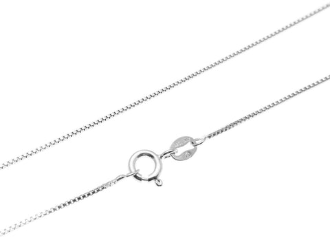 "1MM SOLID ITALIAN STERLING SILVER 925 BOX CHAIN NECKLACE 18"" (SC-5)"