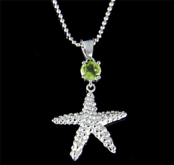 GENUINE PERIDOT 925 STERLING SILVER HAWAIIAN SEASTAR STARFISH PENDANT RHODIUM (SFJ-16)