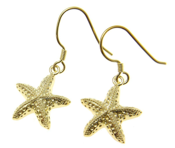 YELLOW GOLD PLATED SILVER 925 HAWAIIAN SEA STARFISH HOOK LEVERBACK EARRINGS 15MM (SFJ-27)