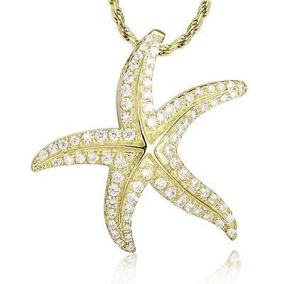 YELLOW GOLD STERLING SILVER 925 BLING CZ HAWAIIAN STARFISH SLIDE PENDANT 24MM (SFJ-33)
