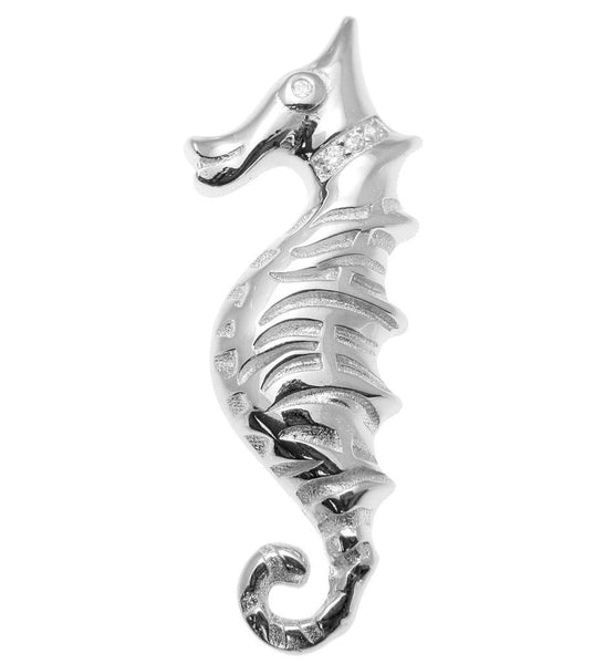 YELLOW ROSE GOLD PLATED RHODIUM SILVER 925 HAWAIIAN SEAHORSE SLIDE PENDANT 15MM (SH-11)