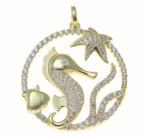YELLOW GOLD SILVER 925 BLING CZ HAWAIIAN STARFISH SEAHORSE SHELL CIRCLE PENDANT (SH-12)