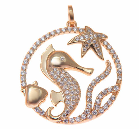 ROSE GOLD SILVER 925 BLING CZ HAWAIIAN STARFISH SEAHORSE SHELL CIRCLE PENDANT (SH-13)