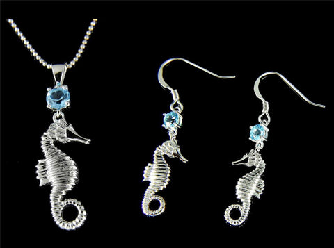 GENUINE BLUE TOPAZ SILVER 925 HAWAIIAN SEAHORSE PENDANT EARRINGS SET RHODIUM (SH-15)