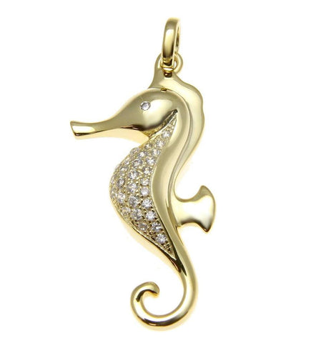 YELLOW GOLD SOLID 925 STERLING SILVER HAWAIIAN SEAHORSE PENDANT CZ (SH-9)