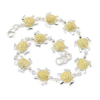 SILVER 925 HAWAIIAN GOLD SHELL TURTLE BRACELET MEDIUM (TB-14)