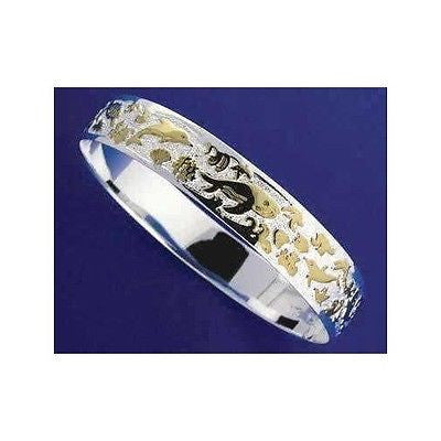 SILVER 925 HAWAIIAN BANGLE BRACELET SEALIFE SMOOTH EDGE 10MM 2 TONE (TB-27)
