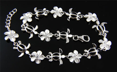 STERLING SILVER 925 HAWAIIAN HONU TURTLE 8MM PLUMERIA FLOWER LINK BRACELET (TB-3)