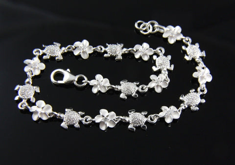 STERLING SILVER 925 HAWAIIAN BABY SEA TURTLE 6MM PLUMERIA FLOWER LINK BRACELET (TB-4)
