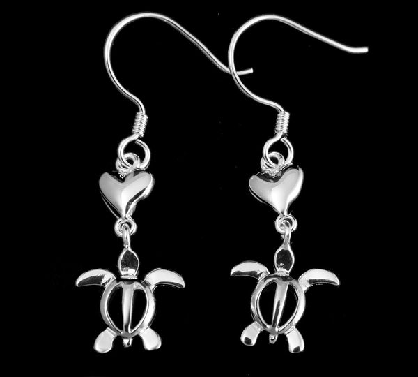 STERLING SILVER 925 HEART DANGLING HAWAIIAN HONU TURTLE WIRE HOOK EARRINGS (TE-21)