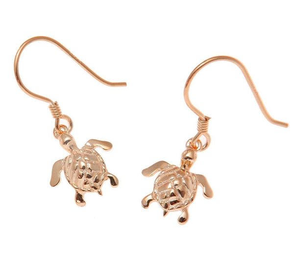 ROSE GOLD ON SILVER 925 HAWAIIAN SEA TURTLE WIRE HOOK LEVERBACK EARRINGS (TE-33)